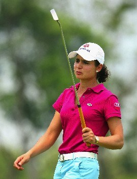SINGAPORE - FEBRUARY 28:  Lorena Ochoa of Mexico reacts to a missed birdie putt on the 15th hole during the first round of the HSBC Women's Champions at Tanah Merah Country Club on February 28, 2008 in Singapore.  (Photo by Scott Halleran/Getty Images)