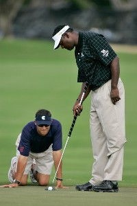 Vijay Singh lines up his putt during practice round at the Sony Open in Hawaii held at Waialae Country Club on January 9, 2008 in Honolulu, Hawaii. PGA TOUR - 2008 Sony Open in Hawaii - Pro-AmPhoto by Stan Badz/PGA TOUR/WireImage.com