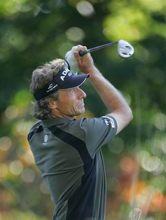 TIMONIUM, MD - OCTOBER 10:  Bernhard Langer of Germany hits a drive during the second round of the Constellation Energy Senior Players Championship at Baltimore Country Club East Course held on October 10, 2008 in Timonium, Maryland  (Photo by Michael Cohen/Getty Images)