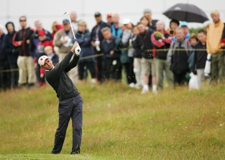 CARNOUSTIE, UNITED KINGDOM - JULY 21:  Markus Brier of Austria hits a shot on the second hole during the third round of The 136th Open Championship at the Carnoustie Golf Club on July 21, 2007 in Carnoustie, Scotland.  (Photo by Andy Lyons/Getty Images)