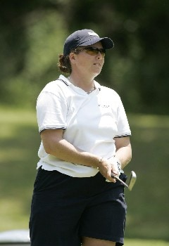 Moira Dunn watches her shot during the first round at the Chick-fil-A Charity Championship, May 12, 2005, at Eagles Landing Country Club, in Stockbridge, GA.Photo by Rex Brown/WireImage.com