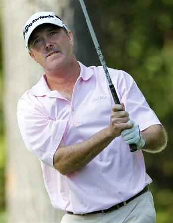CANONSBURG, PA - SEPTEMBER 04:  Geoffrey Sisk watches his tee shot on the 18th hole during the third round of the Mylan Classic presented by CONSOL Energy at Southpointe Golf Club on September 4, 2010 in Canonsburg, Pennsylvania.  (Photo by Gregory Shamus/Getty Images)