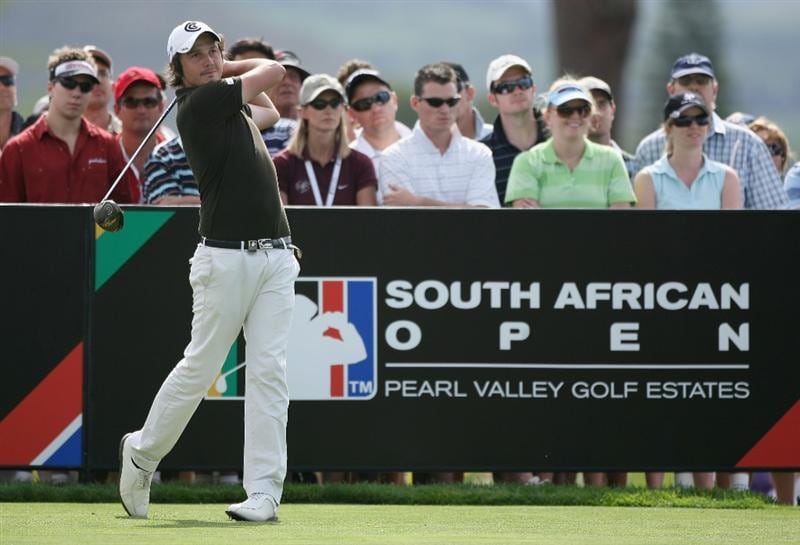PAARL, SOUTH AFRICA - DECEMBER 20:  Michael Lorenzo-Vera of France tees off on the 18th hole during the third round of the South African Open Championship at Pearl Valley Golf & Country Club on December 20, 2008 in Paarl, South Africa.  (Photo by Warren Little/Getty Images)