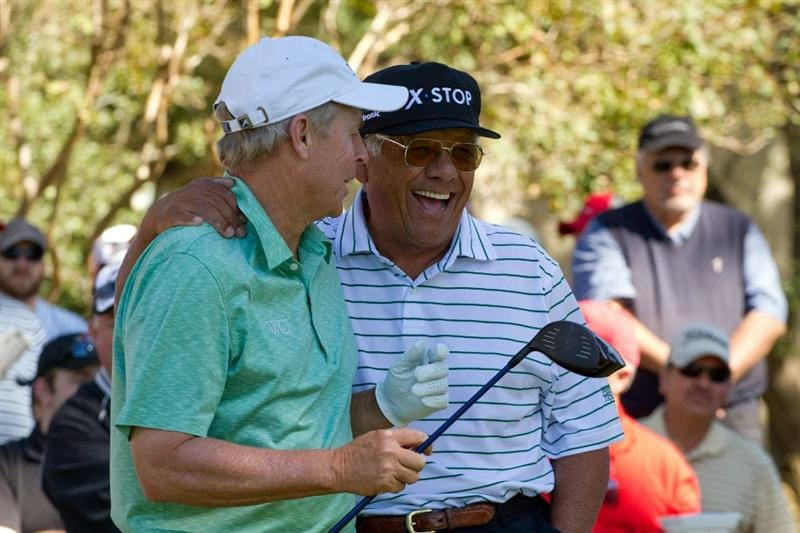 SAN ANTONIO, TX - OCTOBER 30: Lee Trevino jokes with Wayne Levi during the second round of the AT&T Championship at Oak Hills Country Club on October 30, 2010 in San Antonio, Texas. (Photo by Darren Carroll/Getty Images)