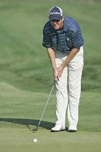 Greg Owen line up a birdie putt on the 14th holein action during the third round of the Bay Hill Invitational presented by MasterCard at the Bay Hill Club in Orlando, Florida on March 18, 2006.