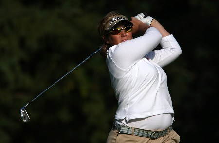 EDMONTON, CANADA - AUGUST 16:  Karen Stupples of Great Britain makes a tee shot on the eighth hole during the first round of the LPGA CN Canadian Women's Open 2007 at the Royal Mayfair Golf Club August 16, 2007 in Edmonton, Alberta, Canada.  (Photo by Robert Laberge/Getty Images)