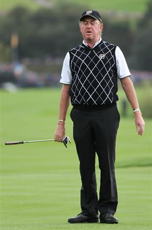 NEWPORT, WALES - OCTOBER 02:  Miguel Angel Jimenez of Europe reacts to a missed putt during the rescheduled Afternoon Foursome Matches during the 2010 Ryder Cup at the Celtic Manor Resort on October 2, 2010 in Newport, Wales.  (Photo by Jamie Squire/Getty Images)