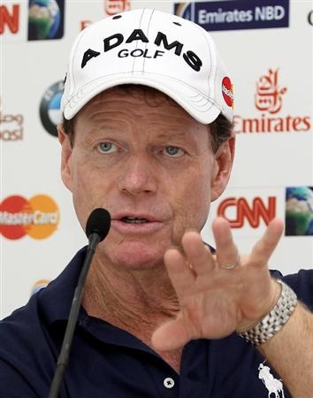 DUBAI, UNITED ARAB EMIRATES - FEBRUARY 03:  Tom Watson of the USA during his press conference prior to the Omega Dubai Desert Classic on the Majlis Course at the Emirates Golf Club on February 3, 2010 in Dubai, United Arab Emirates.  (Photo by Ross Kinnaird/Getty Images)