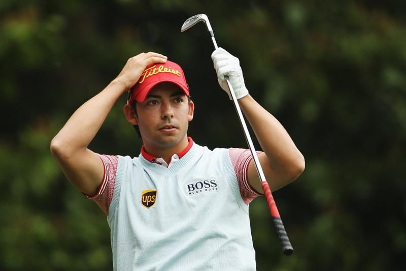 VIRGINIA WATER, ENGLAND - MAY 20:  Pablo Larrazabal of Spain reacts to his tee shot on the 2nd hole during the first round of the BMW PGA Championship on the West Course at Wentworth on May 20, 2010 in Virginia Water, England.  (Photo by Ian Walton/Getty Images)