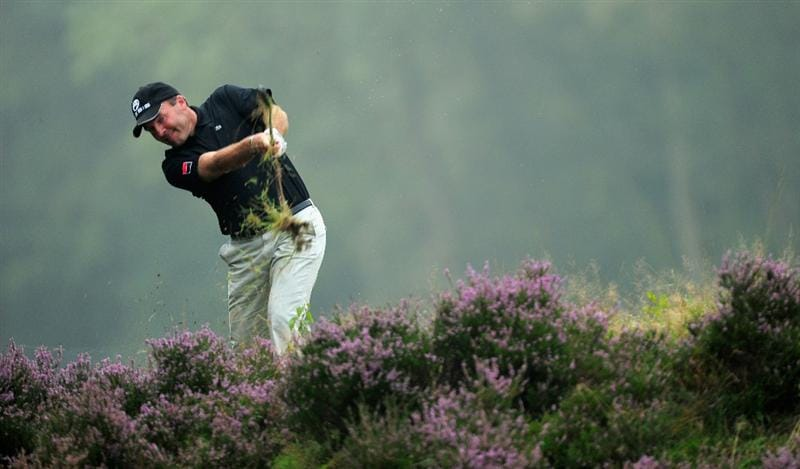 HILVERSUM, NETHERLANDS - SEPTEMBER 10:  Thomas Levet of France plays his approach shot on the 11th hole during the second round of  The KLM Open Golf at The Hillversumsche Golf Club on September 10, 2010 in Hilversum, Netherlands.  (Photo by Stuart Franklin/Getty Images)