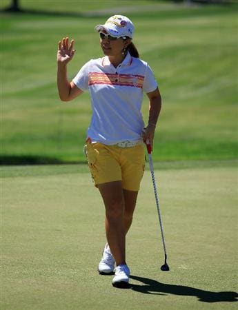 RANCHO MIRAGE, CA - MARCH 31:  Mika Miyazato of Japan holes a birdie putt on the 9th hole her last hole during the first round of the 2011 Kraft Nabisco Championship on the Dinah Shore Championship Course at the Mission Hills Country Club on March 31, 2011 in Rancho Mirage, California.  (Photo by David Cannon/Getty Images)