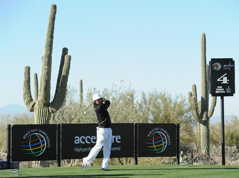 MARANA, AZ - FEBRUARY 22:  Rickie Fowler plays a shot during practice prior to the start of the World Golf Championships-Accenture Match Play Championship held at The Ritz-Carlton Golf Club, Dove Mountain on February 22, 2011 in Marana, Arizona.  (Photo by Stuart Franklin/Getty Images)