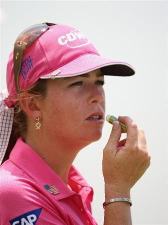 SINGAPORE - MARCH 08:  Paula Creamer of the USA  on the 7th hole during the final round of HSBC Women's Champions at the Tanah Merah Country Club on March 8, 2009 in Singapore.  (Photo by Ross Kinnaird/Getty Images)