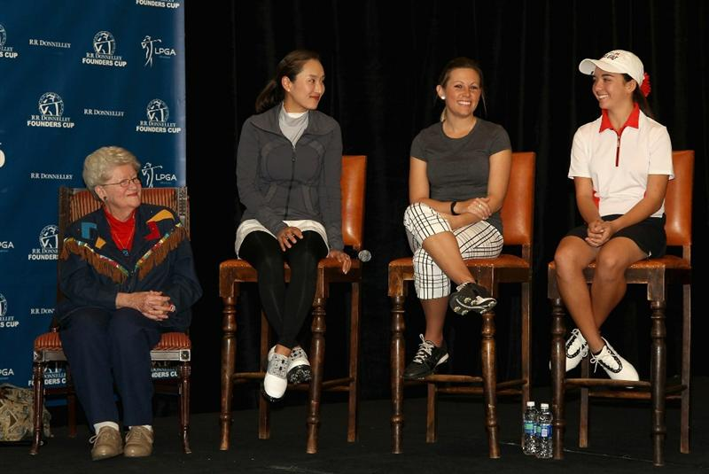 PHOENIX, AZ - FEBRUARY 08:  (L-R) LPGA Founder Marilynn Smith, Grace Park, Sara Brown and Hanna Atkins are introduced at a press conference for the RR Donnelley LPGA Founders Cup at the JW Marrriott Phoenix Desert Ridge Resort and Spa on February 8, 2011 in Phoenix, Arizona.  (Photo by Christian Petersen/Getty Images)