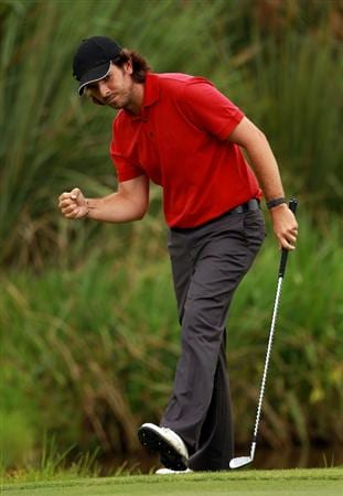 JOHANNESBURG, SOUTH AFRICA - JANUARY 15:  Thomas Aiken of South Africa celebrates a near chip in on the 16th hole during the third round of the Joburg Open at Royal Johannesburg and Kensington Golf Club on January 15, 2011 in Johannesburg, South Africa.  (Photo by Warren Little/Getty Images)