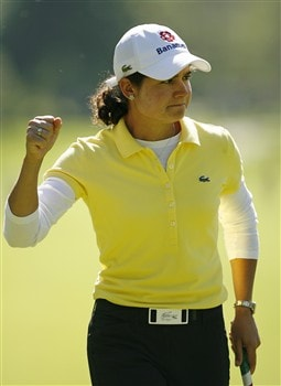 ROCHESTER, NY - JUNE 19: Lorena Ochoa of Mexico celebrates her birdie on the 4th hole during the first round of the Wegmans LPGA at Locust Hill Country Club on June 19, 2008 in Rochester, New York. (Photo by Hunter Martin/Getty Images)