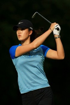EDINA, MN - JUNE 25:  Michelle Wie hits a shot during a practice round prior to the 2008 U.S. Women's Open at Interlachen Country Club on June 25, 2008 in Edina, Minnesota.  (Photo by Travis Lindquist/Getty Images)