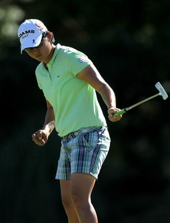 RANCHO MIRAGE,CA - APRIL 1:  Yani Tseng of Taiwan reacts as she makes a birdie putt on the fifth hole during the second round of the Kraft Nabisco Championship at Mission Hills Country Club on April 1, 2011 in Rancho Mirage, California.  (Photo by Stephen Dunn/Getty Images)