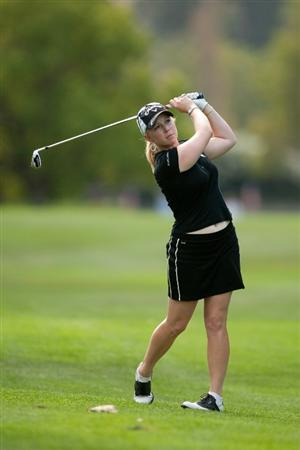 DANVILLE, CA - OCTOBER 14: Morgan Pressel follows through on an approach shot during the first round of the CVS/Pharmacy LPGA Challenge at Blackhawk Country Club on October 14, 2010 in Danville, California. (Photo by Darren Carroll/Getty Images)