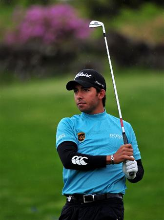 JEJU, SOUTH KOREA - APRIL 24: Pablo Larrazabal of Spain watches his approach shot on the 12th hole during the second round of the Ballantine's Championship at Pinx Golf Club on April 24, 2009 in Jeju, South Korea.  (Photo by Stuart Franklin/Getty Images)