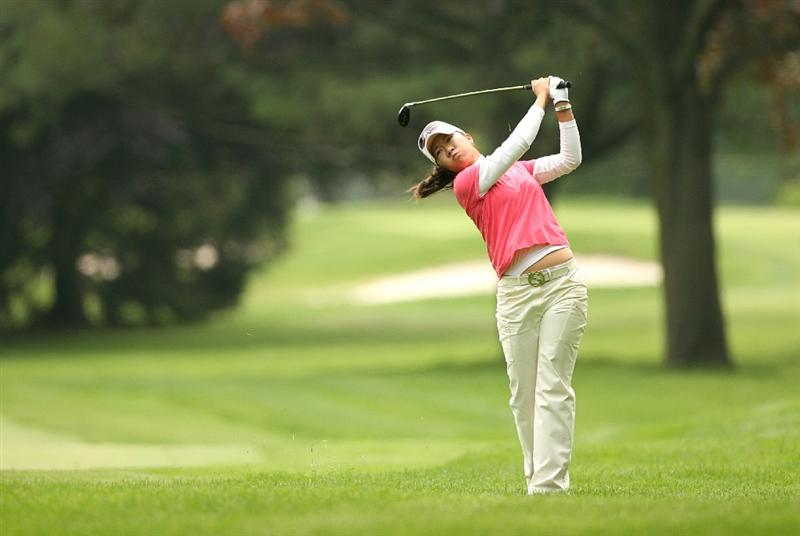 CLIFTON, NJ - MAY 16 : Ji Young Oh of South Korea hits her second shot on the 9th hole during the third round of the Sybase Classic presented by ShopRite at Upper Montclair Country Club on May 16, 2009 in Clifton, New Jersey. (Photo by Hunter Martin/Getty Images)