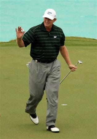 SOUTHAMPTON, BERMUDA - OCTOBER 20:  Ernie Els of South Africa after his birdie putt on the 16th hole during the final round of the 2010 PGA Grand Slam of Golf at The Port Royal Golf Course on October 20, 2010 in Southampton, Bermuda.  (Photo by Ross Kinnaird/Getty Images)