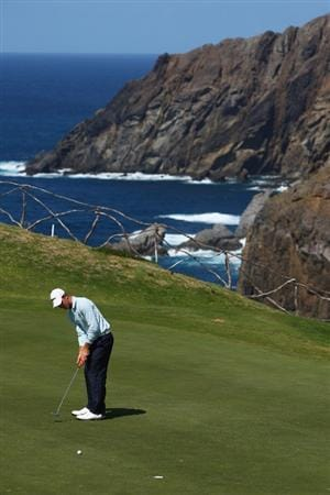 MADEIRA, PORTUGAL - MARCH 22:  Estanislao Goya of Argentina putts at the thirteenth during round four of the Madeira Islands Open BPI at the Porto Santo Golfe Club on March 22, 2009 in Porto Santo,Portugal.  (Photo by Michael Steele/Getty Images)