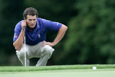 ATHLONE, IRELAND - AUGUST 03: Gareth Maybin of Northern Ireland lines up a putt on the 18th green during the European Challege Tour Challenge of Ireland at the Glasson Golf Hotel & County Club on August 3, 2008 in Athlone, Ireland. (Photo by Patrick Bolger/Getty Images)