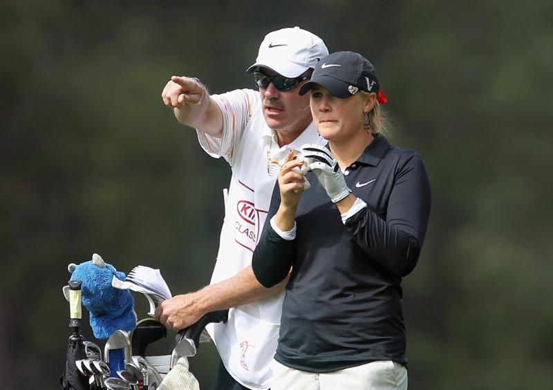 CITY OF INDUSTRY, CA - MARCH 24:  Amanda Blumenherst chats with her caddie Jim Gerber on the 12th hole during the first round of the Kia Classic on March 24, 2011 at the Industry Hills Golf Club in the City of Industry, California.  (Photo by Scott Halleran/Getty Images)