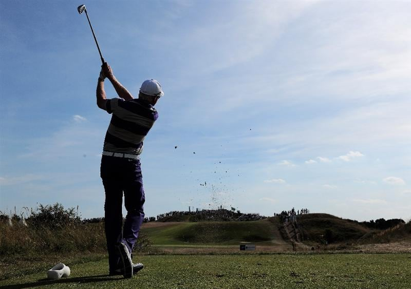 ZANDVOORT, NETHERLANDS - AUGUST 23:  Simon Dyson of England plays his tee shot on the 15th hole during the final round of The KLM Open at Kennemer Golf & Country Club on August 23, 2009 in Zandvoort, Netherlands.  (Photo by Stuart Franklin/Getty Images)