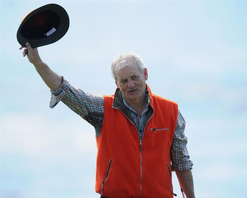 PEBBLE BEACH, CA - FEBRUARY 13: Actor Bill Murray celebrates during the final round of the AT&T Pebble Beach National Pro-Am at Pebble Beach Golf Links on February 13, 2011  in Pebble Beach, California.  (Photo by Stuart Franklin/Getty Images)