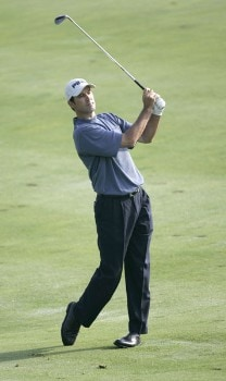 Glen Hnatiuk watches his approach into the 4th hole during the first round of the 2005 John Deere Championship at the TPC at Deere Run in Silvis, Michigan on Thursday, July 7, 2005.Photo by Sam Greenwood/WireImage.com