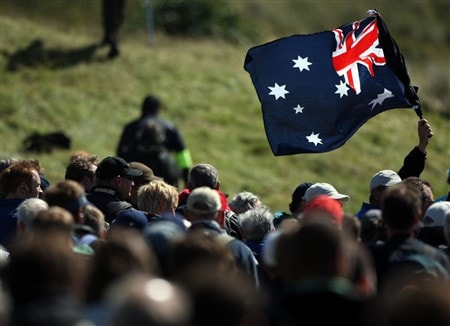 SOUTHPORT, UNITED KINGDOM - JULY 20:  A fan waves an Australia flag during the final round of the 137th Open Championship on July 20, 2008 at Royal Birkdale Golf Club, Southport, England.  (Photo by Warren Little/Getty Images)