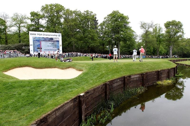 VIRGINIA WATER, ENGLAND - MAY 20:  General View of the 18th green as Rhys Davies of Wales reacts to a putt during the first round of the BMW PGA Championship on the West Course at Wentworth on May 20, 2010 in Virginia Water, England.  (Photo by Andrew Redington/Getty Images)
