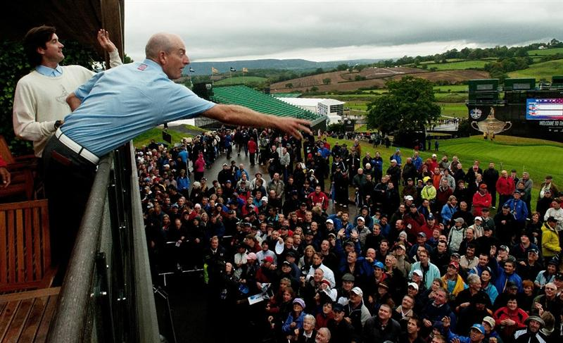 NEWPORT, WALES - OCTOBER 01:  Jim Furyk of the USA throws a hat to fans as play is suspended during the Morning Fourball Matches during the 2010 Ryder Cup at the Celtic Manor Resort on October 1, 2010 in Newport, Wales.  (Photo by PGA of America/Getty Images)