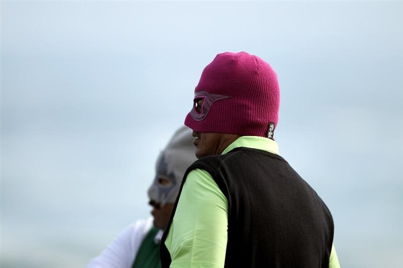 PEBBLE BEACH, CA - FEBRUARY 13:  Actor George Lopez and his caddie wear lucha libre masks on the 18th hole during round three of the AT&T Pebble Beach National Pro-Am at Pebble Beach Golf Links on February 13, 2010 in Pebble Beach, California.  (Photo by Ezra Shaw/Getty Images)