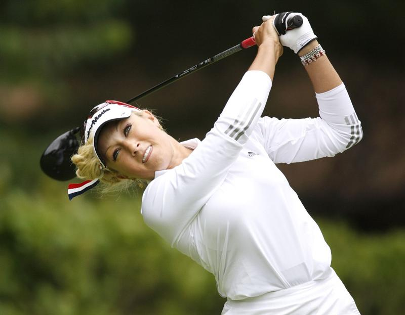 SYLVANIA, OH - JULY 04:  Natalie Gulbis watches her tee shot on the 16th hole during the third round of the Jamie Farr Owens Corning Classic at Highland Hills Golf Club on July 4, 2009 in Sylvania, Ohio.  (Photo by Gregory Shamus/Getty Images)
