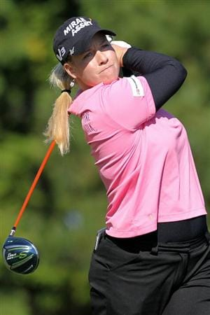 SHIMA, JAPAN - NOVEMBER 05:  Brittany Lincicome of the United States plays a tee shot on the 13th hole during round one of the Mizuno Classic at Kintetsu Kashikojima Country Club on November 5, 2010 in Shima, Mie, Japan.  (Photo by Kiyoshi Ota/Getty Images)