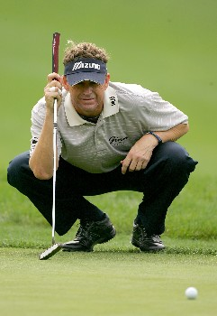 PALM HARBOR, FL - MARCH 7:  Lee Janzen lines up a birdie putt on the 14th hole during the second round of the PODS Championship at Innisbrook Resort and Golf Club March 7, 2008 in Palm Harbor, Florida.  (Photo by Sam Greenwood/Getty Images)