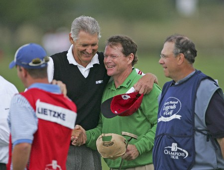 Tom Watson and his partner, Andy North win the Raphael division of the 2005 Libery Mutual Legends of Golf.  Saturday April 23, 2005.Photo by Chris Condon/PGA TOUR/WireImage.com