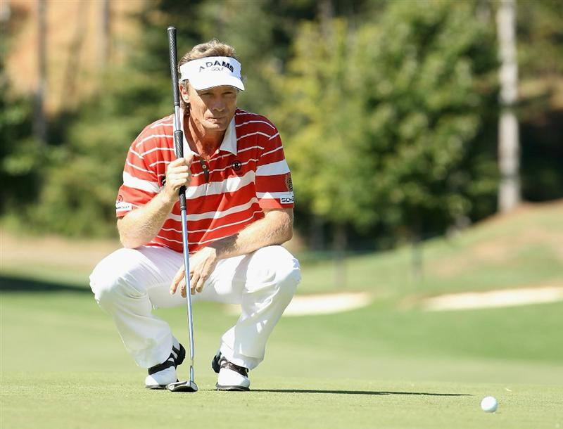 CONOVER, NC - OCTOBER 02:  Bernhard Langer of Germany prepares to putt during the second round of the Ensure Classic at the Rock Barn Golf & Spa on October 2, 2010 in Conover, North Carolina.  (Photo by Christian Petersen/Getty Images)
