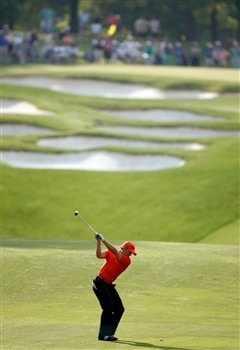 CHARLOTTE, NC - MAY 02:  Sergio Garcia of Spain hits a shot on the 5th hole during the second round of the Wachovia Championship at Quail Hollow Country Club on May 2, 2008 in Charlotte, North Carolina.  (Photo by Streeter Lecka/Getty Images)