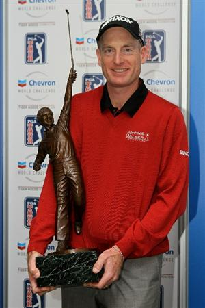 THOUSAND OAKS, CA - DECEMBER 4:  Jim Furyk holds the trophy for being voted PGA tour Player of the Year during a cermony after round three of the Chevron World Challenge at Sherwood Country Club on December 4, 2010 in Thousand Oaks, California.  The trophy is a statue of Jack Nicklaus.   (Stephen Dunn/Getty Images)