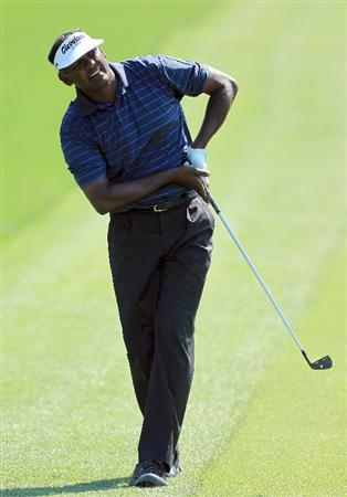 ORLANDO, FL - MARCH 25:  Vijay Singh of Fiji plays his second shot at the 1st hole during the second round of the 2011 Arnold Palmer Invitational presented by Mastercard at the Bay Hill Lodge and Country Club on March 25, 2011 in Orlando, Florida.  (Photo by David Cannon/Getty Images)