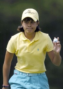 Julieta Granada reacts after a birdie putt during the second round of the LPGA Florida's Natural Charity Championship on Friday, April 21, 2006, at Eagle's Landing Country Club in Stockbridge, Georgia.Photo by Grant Halverson/WireImage.com
