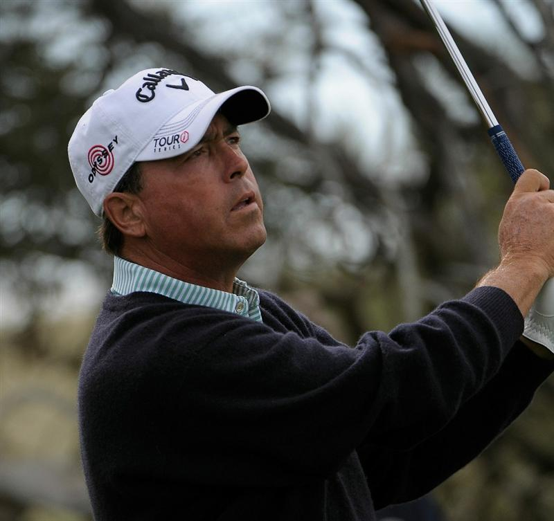 PARKER, CO. - MAY 27:   Olin Browne tees off the 11th hole during the first round of the Senior PGA Championship at the Colorado Golf Club  on May 27, 2010 in Parker, Colorado.  (Photo by Marc Feldman/Getty Images)