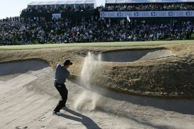 Jeff Quinney hits out of the bunker at the 18th hole during the fourth and final round round of the FBR Open held at TPC Scottsdale in Scottsdale, Arizona, on February 4, 2007.  Photo by: Stan Badz/PGA TOURPhoto by: Stan Badz/PGA TOUR