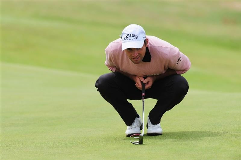TURNBERRY, SCOTLAND - JULY 18:  Oliver Wilson of England lines up a putt during round three of the 138th Open Championship on the Ailsa Course, Turnberry Golf Club on July 18, 2009 in Turnberry, Scotland.  (Photo by Stuart Franklin/Getty Images)