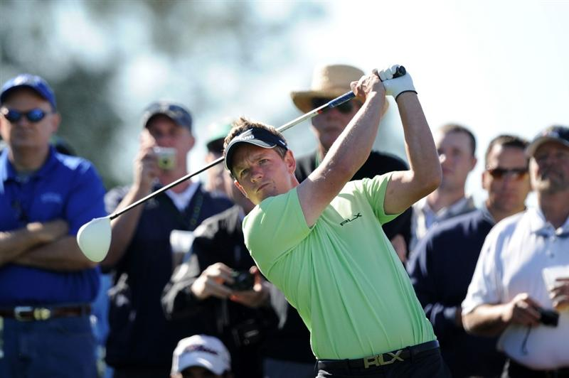 AUGUSTA, GA - APRIL 06:  Luke Donald of England plays a shot during a practice round prior to the 2011 Masters Tournament at Augusta National Golf Club on April 6, 2011 in Augusta, Georgia.  (Photo by Harry How/Getty Images)