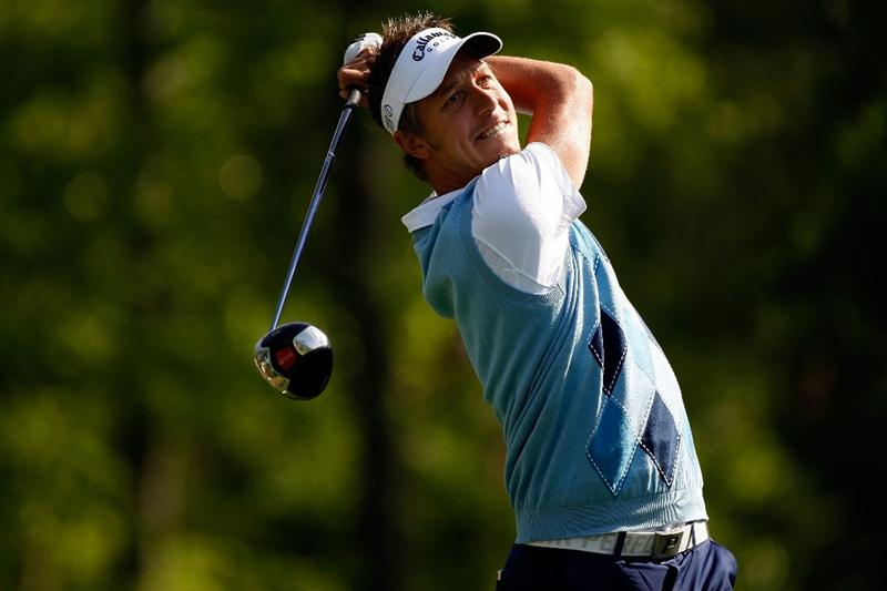 HUMBLE, TX - APRIL 02:  Fredrik Jacobson tees off on the second hole during the first round of the Shell Houston Open at Redstone Golf Club April 2, 2009 in Humble, Texas.  (Photo by Chris Graythen/Getty Images)